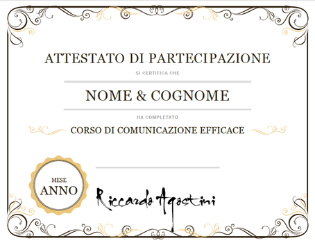 attestato corso individuale di public speaking